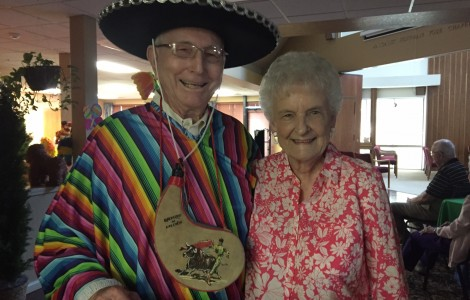 Mexican theme party with Casey in hat and Betty G