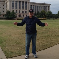 Jess Franks in front of capitol building going to the library for walk