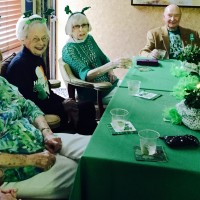 Irish theme party with annes table and shamrock headbands