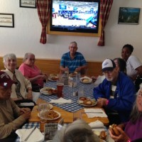 GW park group at das boot eating