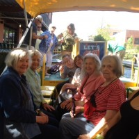 River canal boat with ladies smiling