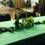 Decorations for theme party with seagulls, seaweed, shells, candles.