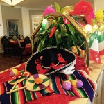 Mexican decorations light up the dining room.