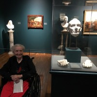 Gilcrease museum with resident by sculpture good pic