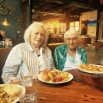 Sheila and Sue Ann with a pork hoagie and a Margherita pizza...both delicious!