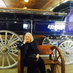 Sheila sitting in front of the beautiful wagon the horses pull.