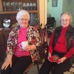 Mildred and Betty having hot chocolate
