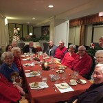 Happy residents and guests after finishing off the bread pudding.