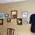 Wall of art, skirt and top by Darline Bennett