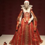 A gown copied to detail what would have been worn by a Grand Lady during the Queen Elizabeth I period.