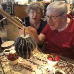 Janie and Darrell who is starting to break his Chocolate Birthday Ball!