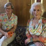 Glenna and Betty in colorful blouses!