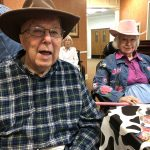 Bill Rodgers and Gwen Thomas in their western hats