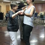 Chelsea dancing with Jane Coalson, who loves to dance.